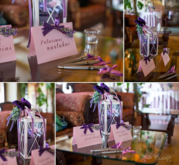 Vestuvių detalės levandų tema
