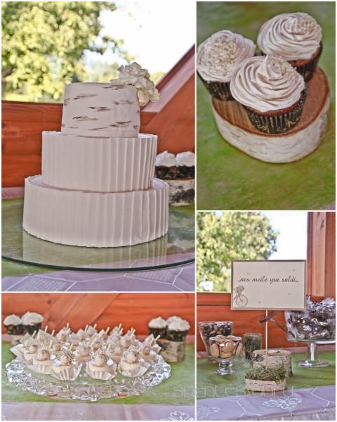 Saldus stalas - tortas su beržo elementais