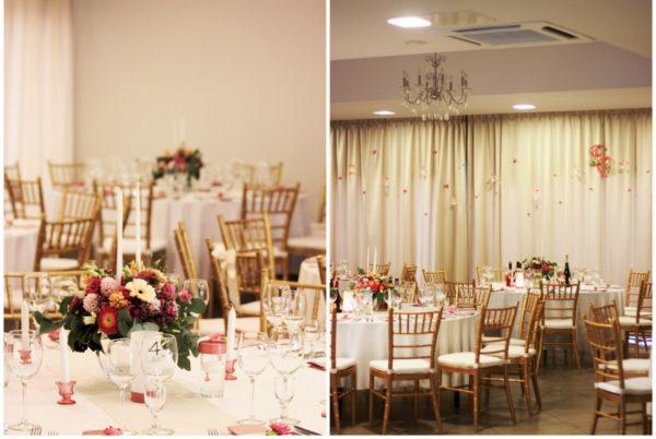 Vestuvių dekoras prie atskirų staliukų